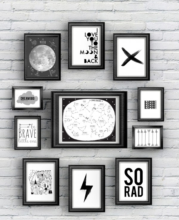 Free Printable 12 Posters Black And White à Imprimer
