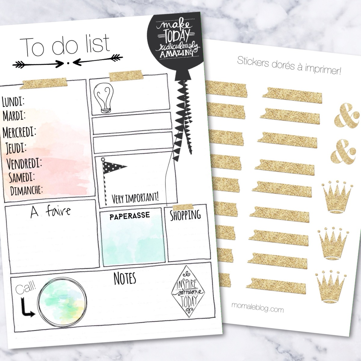 {Free printables} To do list et stickers dorés!