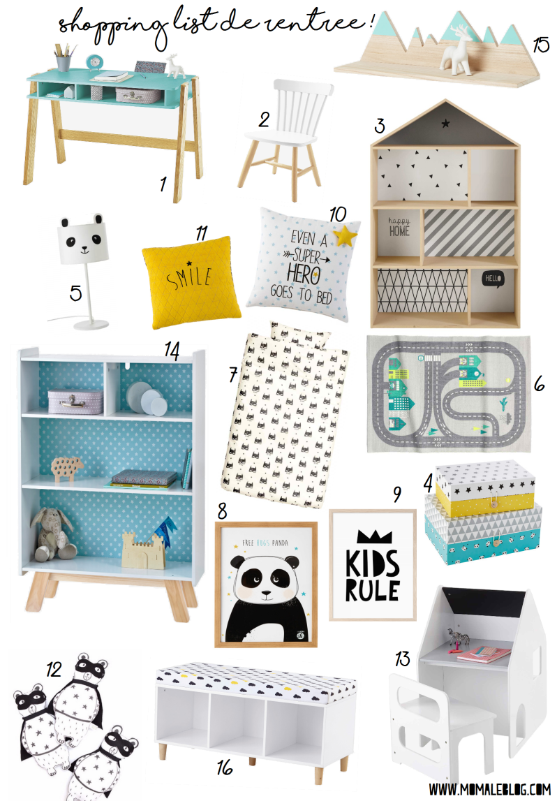 Shopping liste Moma boy bedroom