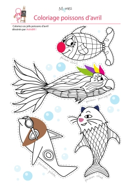 Coloriage-4-poissons-d-avril